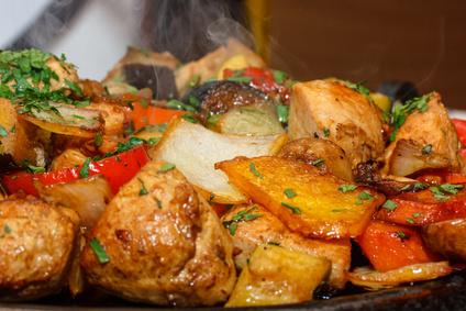 Vegetarische Kartoffel-Champignon-Pfanne